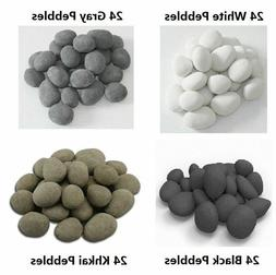 24 PCS Ceramic Pebbles For Gas Ethanol Fireplace,Stove,Fire
