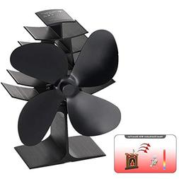 YUEMI 4-Blade Heat Powered Stove Fan Wood/Log Burner/Firepla