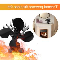 4-Blade Heat Powered Wood Log Burner Stove Fan for Gas/ Pell