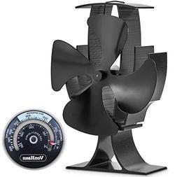 VonHaus 4-Blade Heat Powered Wood Stove Fan with Temperature