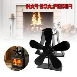 Black Fireplace 4 Blade Heat Powered <font><b>Stove</b></fon