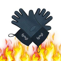 Long Silicone Grill Gloves - Heat Resistant Oven Mitts & Pot