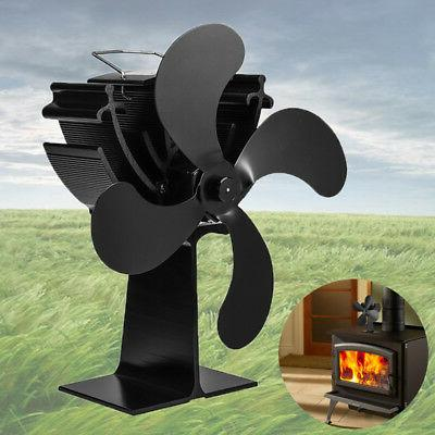 black 4 blade heat powered wood fireplace