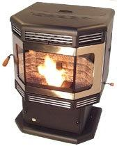 BRECKWELL P2700 WOOD PELLET STOVE, MATTE BLACK Door w. GOLD