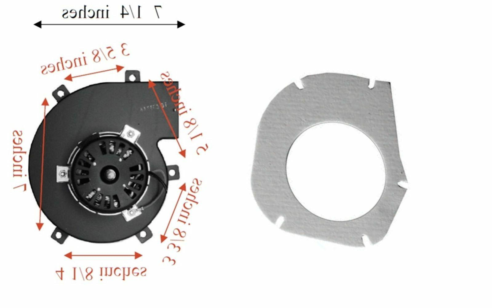 pellet stove exhaust combustion fan with gasket