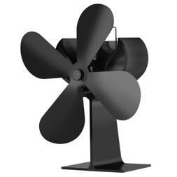 Black 4-Blade Heat Powered Wood Fireplace Stove Fan for Gas