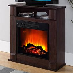 """Prokonian Electric Fireplace with 26"""" Mantle, Dark Cherry"""