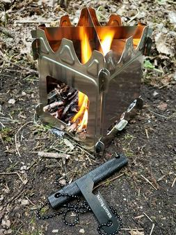 Wood Burning Camp Stove Stainless Steel Camping Portable Twi