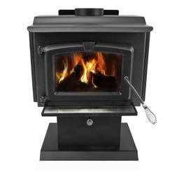 Pleasant Hearth Small Wood Burning Stove with Blower - Black
