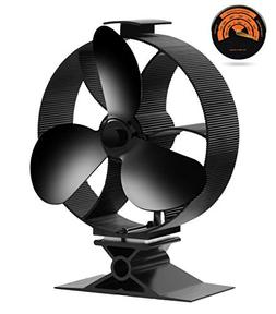 Chekue Wood Stove Fan with Thermometer, 3 Blades Heat Powere